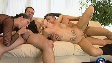 Raunchy nymphos Ivett and Lisa having fun on a wild foursome action