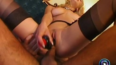 Slutty Nikky rammed hard with her dildo and her partner's huge cock