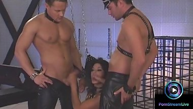 Viktoria enjoys leather and bondage plus deep penetration