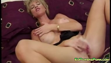 Busty Blonde Rubbing Her Clit