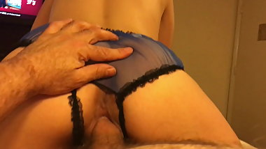Blue Classic Crotchless Panties